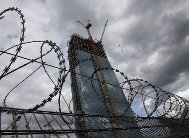The ECB's new headquarters, as guarded by barbed wire. Unusually among central banks, the ECB is not a lender of last resort.