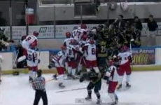 VIDEO: Ice hockey match descends into mass brawl