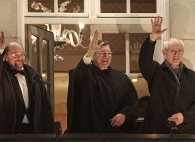 European Parliament President Martin Schulz, left, European Commission President Jose Manuel Barroso, center, and European Council President Herman Van Rompuy wave to the crowd in Oslo today.