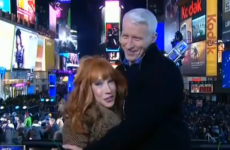 VIDEO: Kathy Griffin kisses Anderson Cooper's crotch on live TV