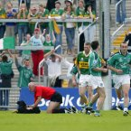 Leave it to me lads. Referee Gerry Kinneavy gets his hands on the intruder as Tomás Ó Sé (Kerry) and Stephen Lavin (Limerick) are amongst those looking on.