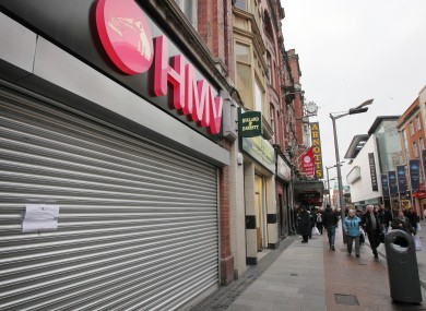 A closed HMV shop on Henry Street in Dublin.