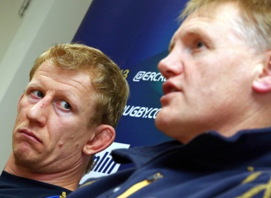 Clinging on: Leinster captain Leo Cullen and head coach Joe Schmidt.