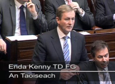 Taoiseach Enda Kenny speaking in the Dáil today