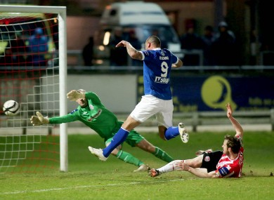 Sligo's Anthony Elding scoring.