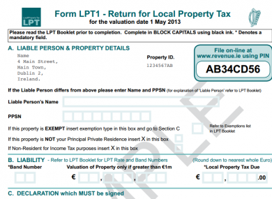 A sample Local Property Tax return form