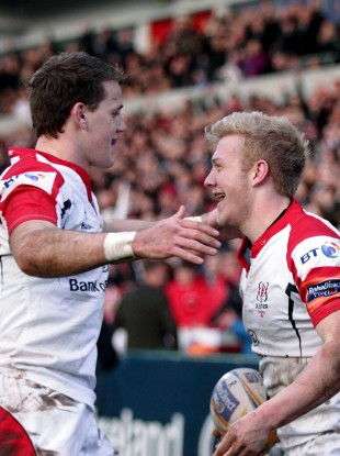 Let's hug it out: Craig Gilroy and Stuart Olding.