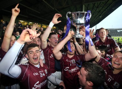 Galway players celebrate after the match.