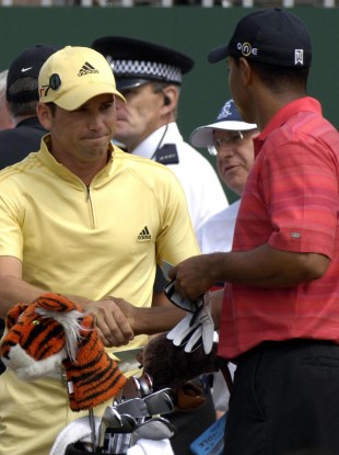 Sergio Garcia and Tiger Woods at The Open in 2006.