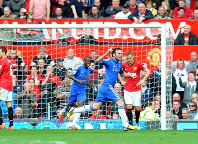 Chelsea's Juan Mata celebrates scoring the winning goal.