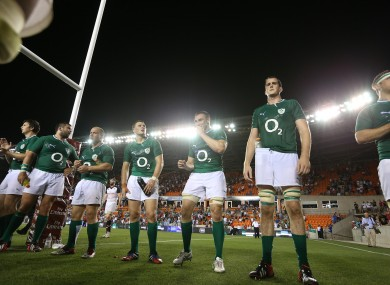 Iain Henderson, Jamie Hagan Richardt Strauss Robbie Henshaw Tommy O'Donnell, Devin Toner and Chris Henry post-match.