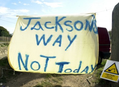 A protest banner at the Carrickmines Castle site in 2002.