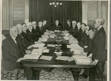 Photograph of Simon Coleman's painting of the first meeting of the Council of State on 8 January 1940