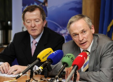 John Perry (left) with Minister for Jobs Richard Bruton