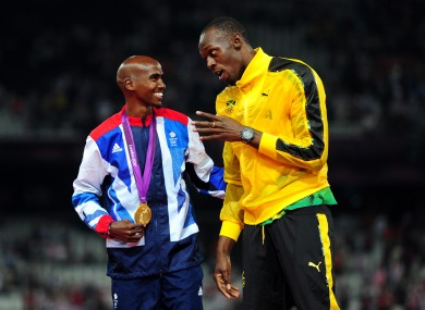 Mo Farah and Usain Bolt talk gold medals at London 2012.