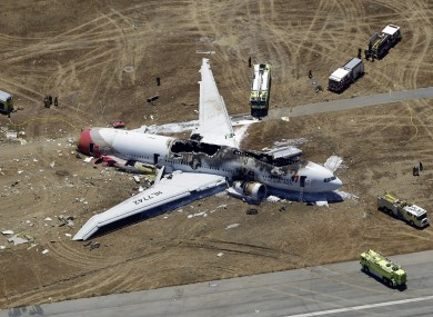 Aerial photo of the wreckage of Asiana Flight 214 lies on the ground after it crashed at the San Francisco International Airport, in San Francisco.