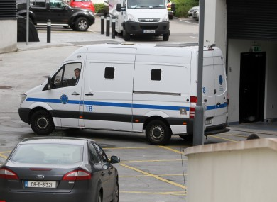 What appears to be the prison van carrying John Dundon arriving at the Special Criminal Court in Dublin today.