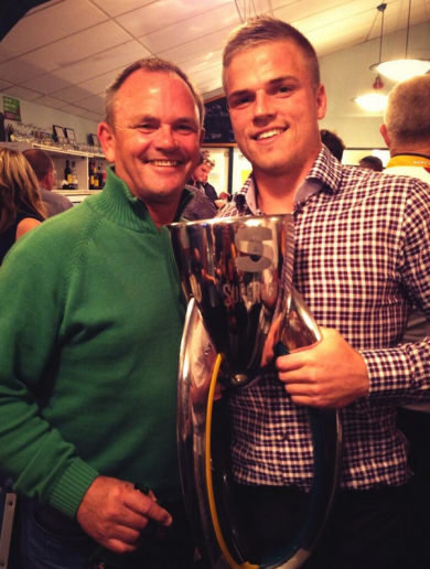 Snapshot: Anscombe and son celebrate Chiefs' Super XV victory