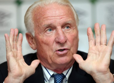 Republic of Ireland manager Giovanni Trapattoni at yesterday's squad announcement.