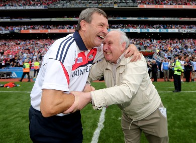 Cork's manager Jimmy Barry-Murphy celebrates with secretary of the Cork County Board Frank Murphy.