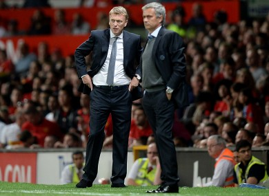 Moyes and Mourinho on the touchline.