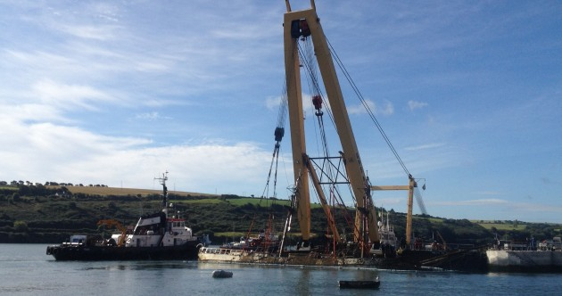 After six weeks on the rocks, Tall Ship Astrid towed to Kinsale Harbour