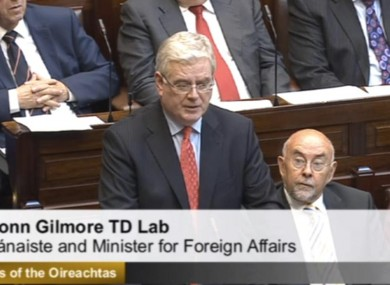 Tánaiste Eamon Gilmore speaking in the Dáil this morning