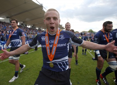 Ian Madigan whoops it up on the RDS pitch after Leinster won the Pro12 title in May.