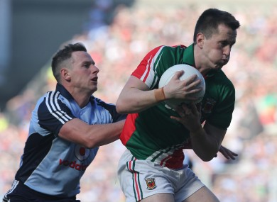 Philly McMahon kept a close eye on Cillian O'Connor of Mayo today.
