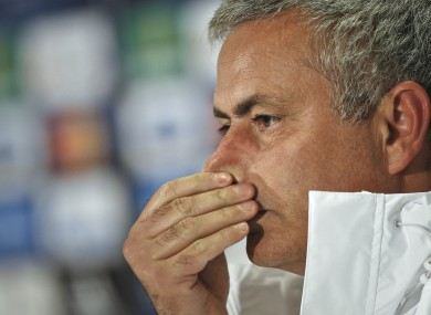Chelsea's manager Jose Mourinho during a press conference in Bucharest today.