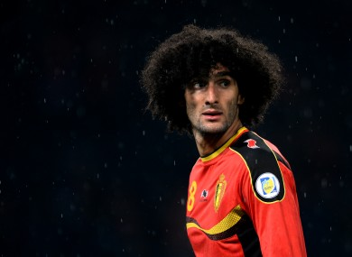 Marouane Fellaini in action for Belgium against Scotland last night.