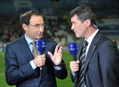 Bookes' favourite, Martin O'Neill and former Ireland skipper, Roy Keane on ITV duty.