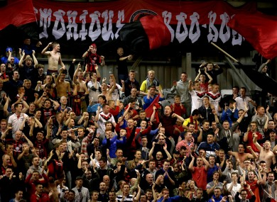 Bohemians fans celebrating after a game against Shamrock Rovers in August.