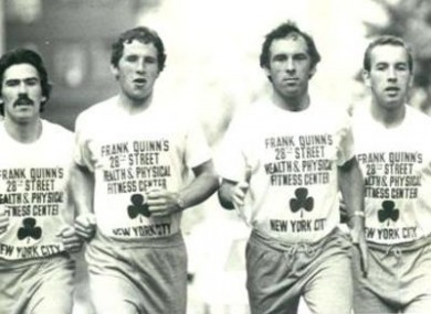 The Quinn brothers running in the NYC marathon in the 1980s. (L-R) Sean, Brian, Frank and Michael.