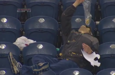 Drunk American football fan drowns his sorrows in popcorn