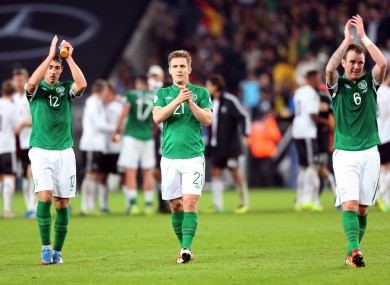 Stephen Kelly, Kevin Doyle and Glenn Whelan after the recent defeat to Germany.