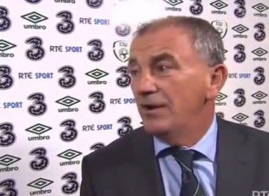 Ireland manager Noel Kingin front of the RTE camera.