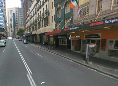 The hostel, complete with Irish flag, on Pitt Street, Haymarket in Sydney