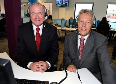 Northern Ireland Deputy First Minister Martin McGuinness and First Minister Peter Robinson visiting Stream Global Services in east Belfast.