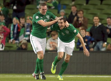 John O'Shea celebrates his second international goal.