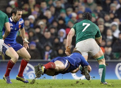 Sean O'Brien (No. 7) goes on the charge against France.