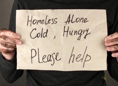 Homeless man asks for help