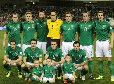 The Irish team pictured ahead of their game with Kazakhstan last night.