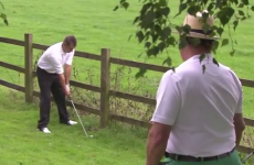 Amateur golfer plays crazy escape shot off a fence… to within a couple of feet